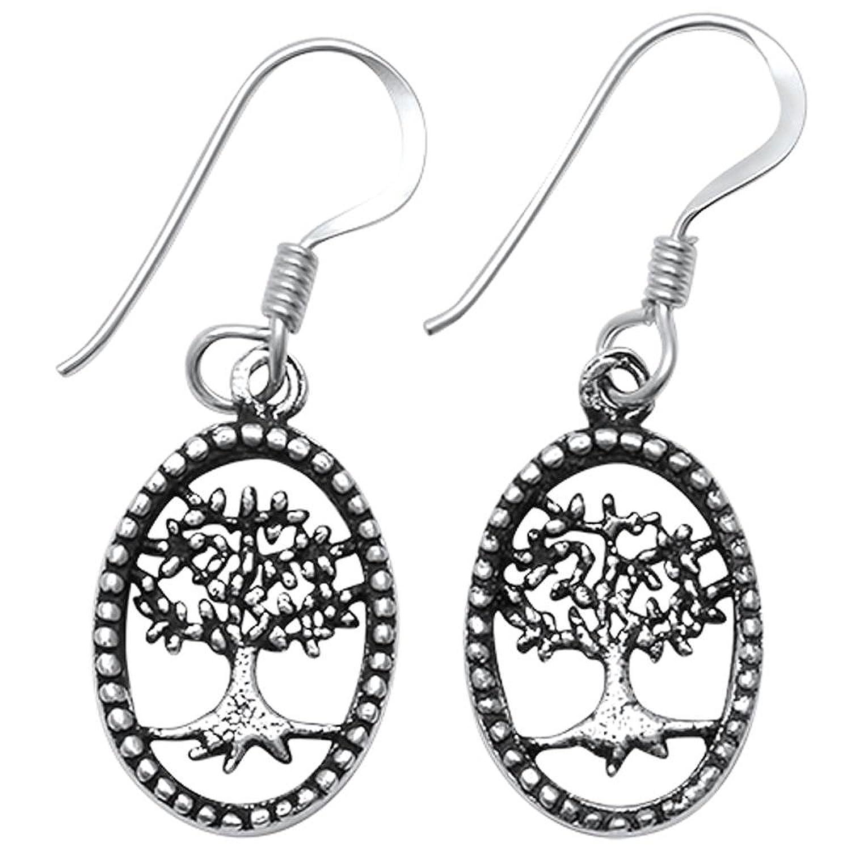 Brightt Plain Oval Tree of Life .925 Sterling Silver Earrings