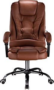 Cosyshow Comfort Genuine Leather High Back Executive Office Desk Chair Ergonomic Adjustable Recliner Computer PC Gaming Chair Footrest Armrest (Brown)