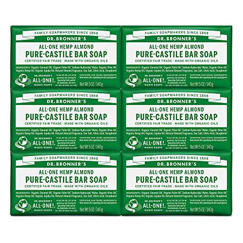 Dr. Bronner's Pure-Castile Bar Soap -- Almond, 5oz, 6-Pack