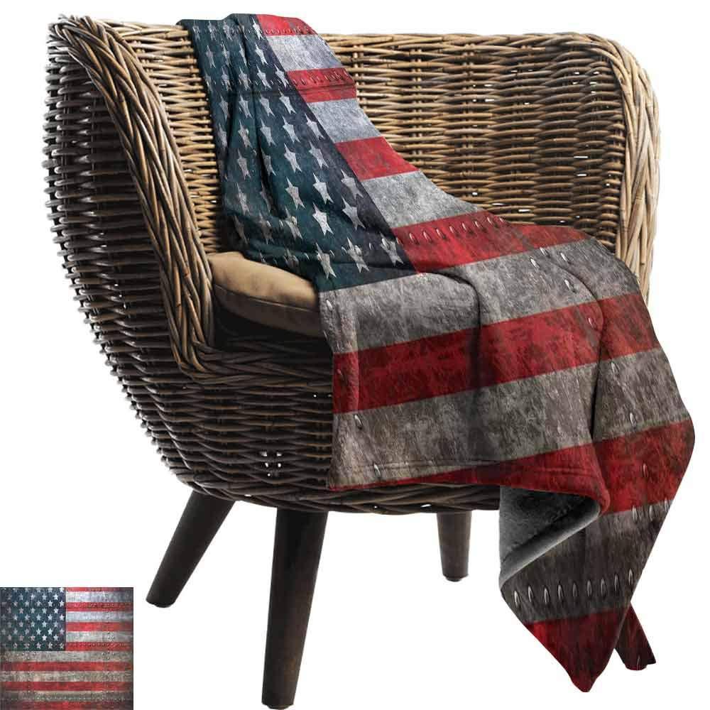 vanfan-home American Flag Warm Blanket,Royalty Flag Textured US Backdrop on Damaged Board Plate Design Artwork Print Printing Throw Blanket for Bed Sofa(70''x50'')-Red Grey