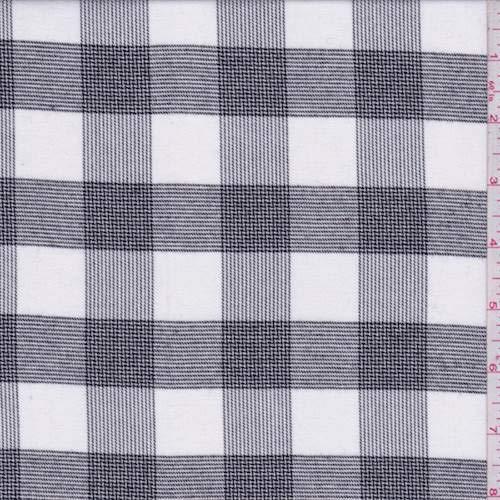 Fabric Glen Plaid (Optic White/Black Glen Plaid Check Flannel, Fabric by The Yard)