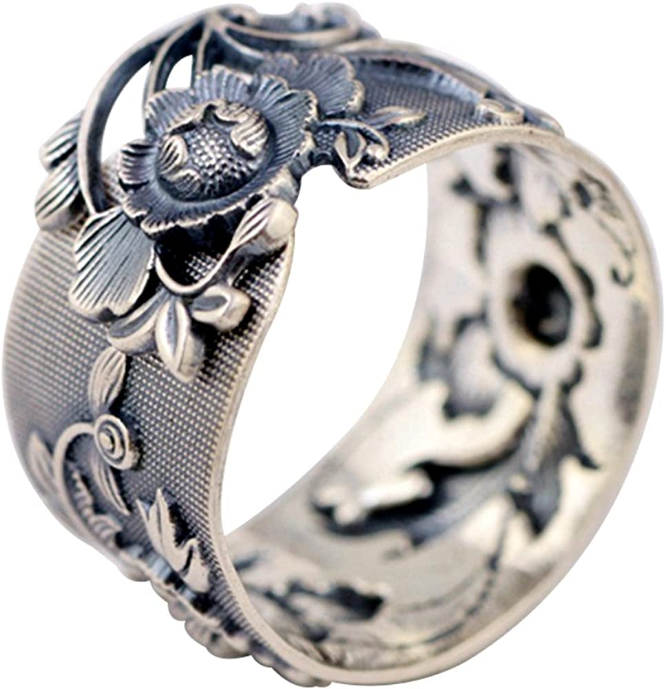 Black Wide Solid 999 Sterling Silver Peony Flower Ring Jewelry for Women Girls 15mm Adjustable 8.5-10