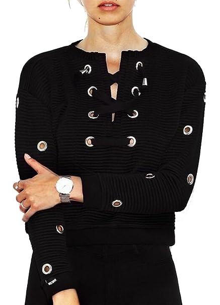 10026a142f DUTUT Women Hoodie Sweatshirt Lace up Long Sleeve Crop Top Coat Casual  Loose Pullover Tops Size