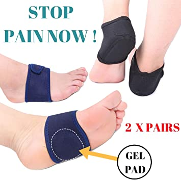 d0194a89eb Amazon.com : MEDIZED® Plantar Fasciitis Therapy Wrap Heel Foot Pain Arch  Support Ankle Brace Insole Orthotic ... (Blue Arch Sleeve and Black Heel  Wrap) : ...