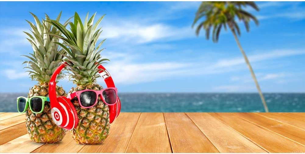 10x6.5ft Music Pineapple Polyester Photography Background Cool Summer Vacation Sea Coconut Tree Blue Sky Wood Plank Funny Cute Creative Wedding Music Party Lover Studio Portraits Shoot Backdrop