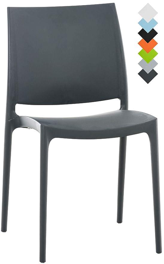 Résistante Charge Maya Empilable Chaise en Plastique de UVChaise Bistro Jardin Chaise foncé CLP Cuisine de aux kgGris de Max160 kZPXuOi
