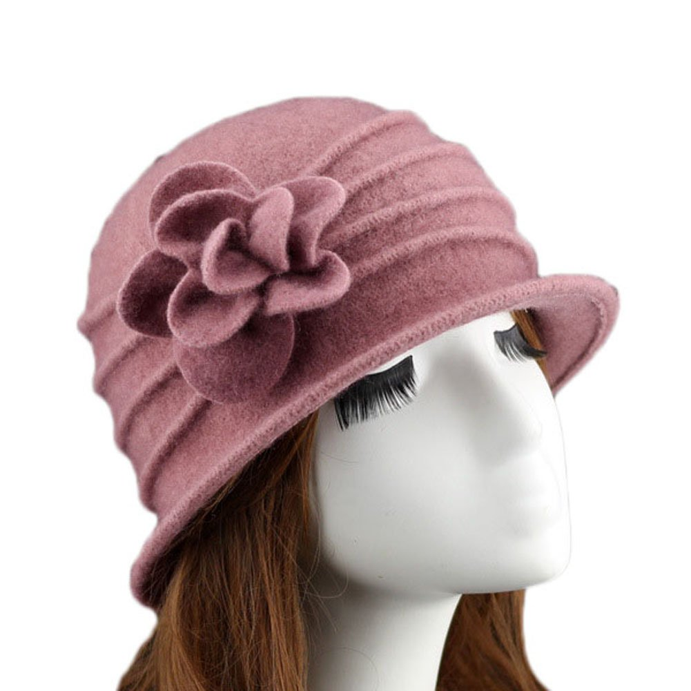 Ealafee Women Pink Real Wool Berets Beanies Cloche Fedoras Flower Top Hats Cap