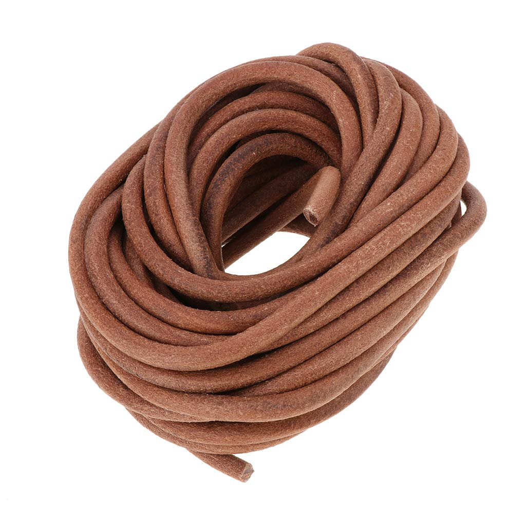 Shoelaces Round Leather Roll Cowhide Leather Cord 8mm Diameter 10 Meters Natural Rawhide Rope for Kumihimo Braiding Jewelry Making