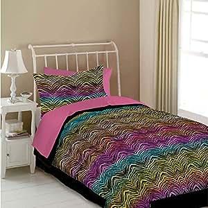 Veratex Rainbow Zebra Queen Size 4-Piece Comforter Set