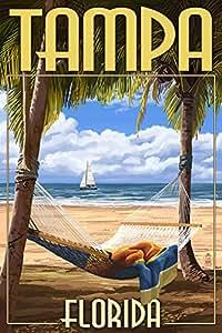 Tampa, Florida - Palms and Hammock (9x12 Art Print, Wall Decor Travel Poster)