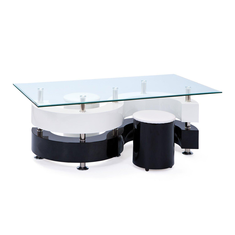 finest links couchtisch glastisch wohnzimmer tisch glas hocker schwarz wei de kche u haushalt with stylische wohnzimmer tische