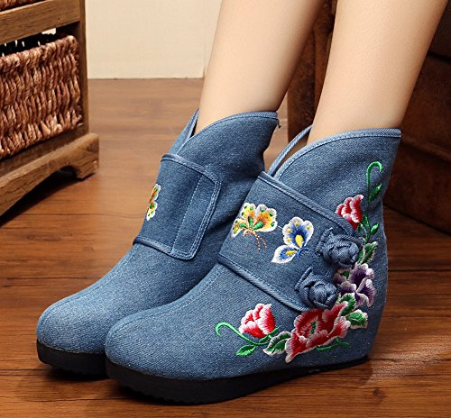 Ankle Flower Boots Womens Blue Butterfly Wedge AvaCostume Embroidery Boots Heel HUfEn0qqx