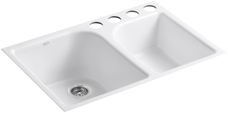 Kohler k 5931 4u 0 executive chef undercounter kitchen sink white cast iron sink amazon com