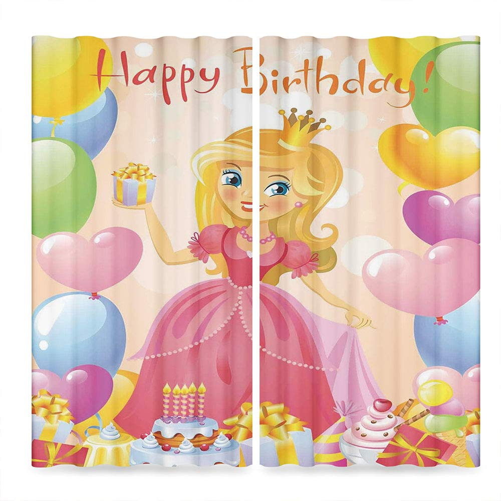 C COABALLA Birthday Decorations for Kids Door Curtain,Birthday Girl Princess Themed Image with Hearts and Balloons,for Living Room, 2 Panel Set,28W X 39L Inches