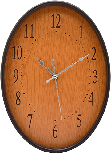 MISUE Silent Oval Wall Clock Natural Wood Frame NO-Ticking Decorative Sweeping Vintage Wooden Clocks