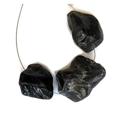 3 Pieces 22 To 18mm Each Raw Black Onyx Rough Stone