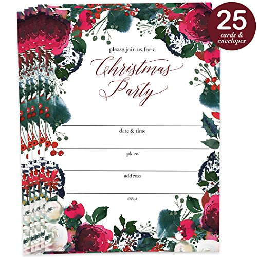 25 Christmas Party Invites with Envelopes ( Pack of 25 ) Gorgeous Floral Wreath Large Blank 5x7