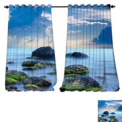 c261b2aa796 fengruiyanjing-Home Thermal Insulated Blackout Grommet Curtain Blue Sea  Stones and Mystic Caribbean Photo Print
