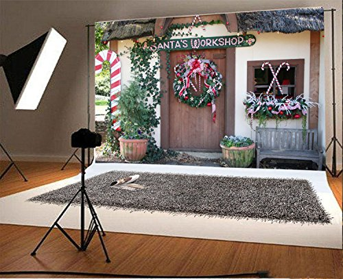 - Laeacco 7x5FT Vinyl Backdrop Photography Background Santa's Workshop Christmas Wreath Green Vine Leaves Plant Pots Front Door Candy Cane Childhood Memory Children Adult Photo Backdrop Studio Props