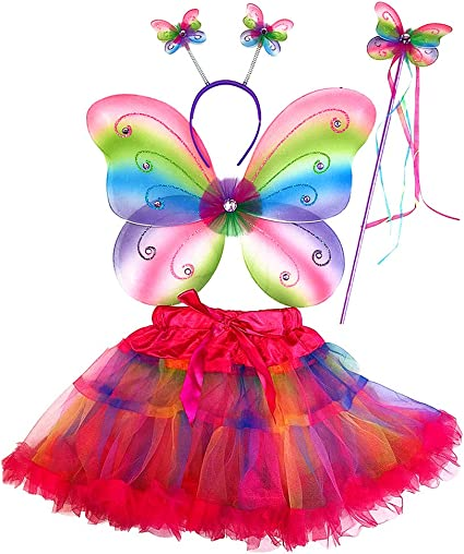 Girl Kids Fairy Wings Butterfly Fancy Dress Up Costume Party Pretend Play Sets