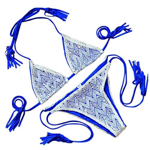 Fashion Colors Womens Wave Crochet Triangle Top Low Waist Brazilian Bikini Set Royal Blue - Royal Bikini