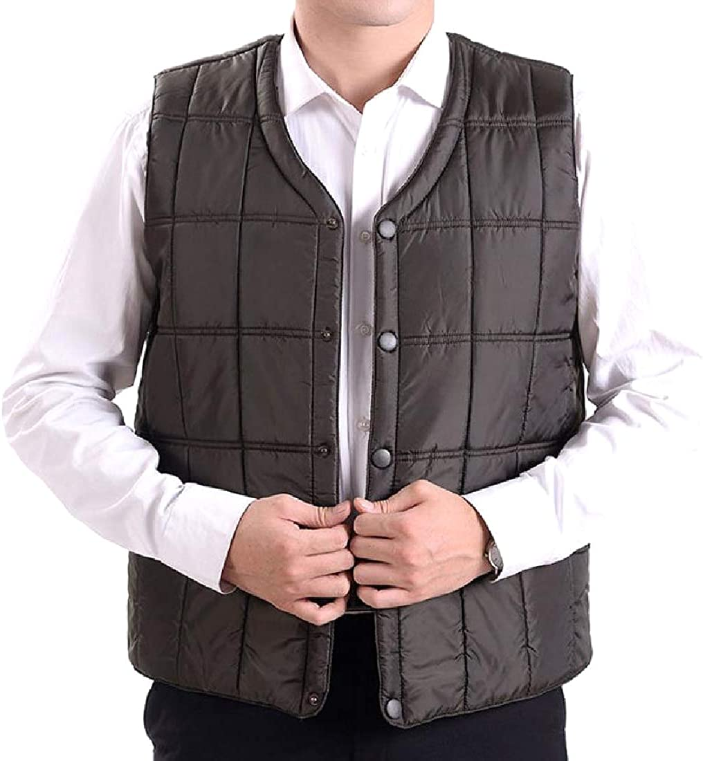 YUNY Men Button Down Gilet Slim Casual Lightweight Puffer Vest Army Green L