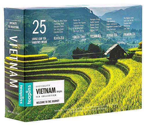 Premium Tea Gift Set | Vietnam Delights 25 Loose Leaf Teas, Perfect Authentic Collection for Tea Lovers - 125g (Vietnam Tea Set)
