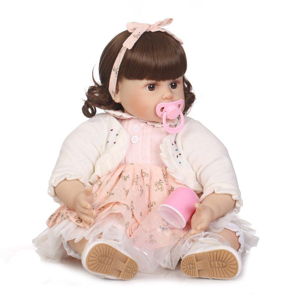 "icradle 22 "" 55 cm Reborn幼児用人形ハンドメイドソフトビニール&シリコンLife Like新生児人形リアルな赤ちゃん人形Real Babies磁気口withダミーXmas Present Fasion Sweet Girl For Age 3 +   B07DHJ84XY"