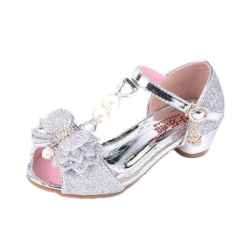 37eb425575cfd Yy.f YYF Petite Fille Belle Sandale Chaussure de Princesse A Talon AVCE  Paillettes pour Printemps Et Ete 26-37  Amazon.fr  Chaussures et Sacs