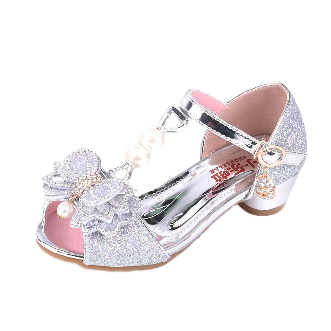 YIBLBOX Kids Little Girls Glitter Wedding Party Bridesmaid Dress Princess Shoes Mary Jane Low Heel Sandals