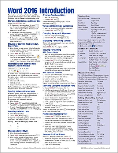 Microsoft Word 2016 Introduction Quick Reference Guide...