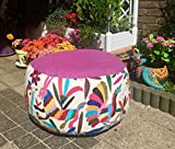 Poof, handmade with hand embroidered otomi fabric.