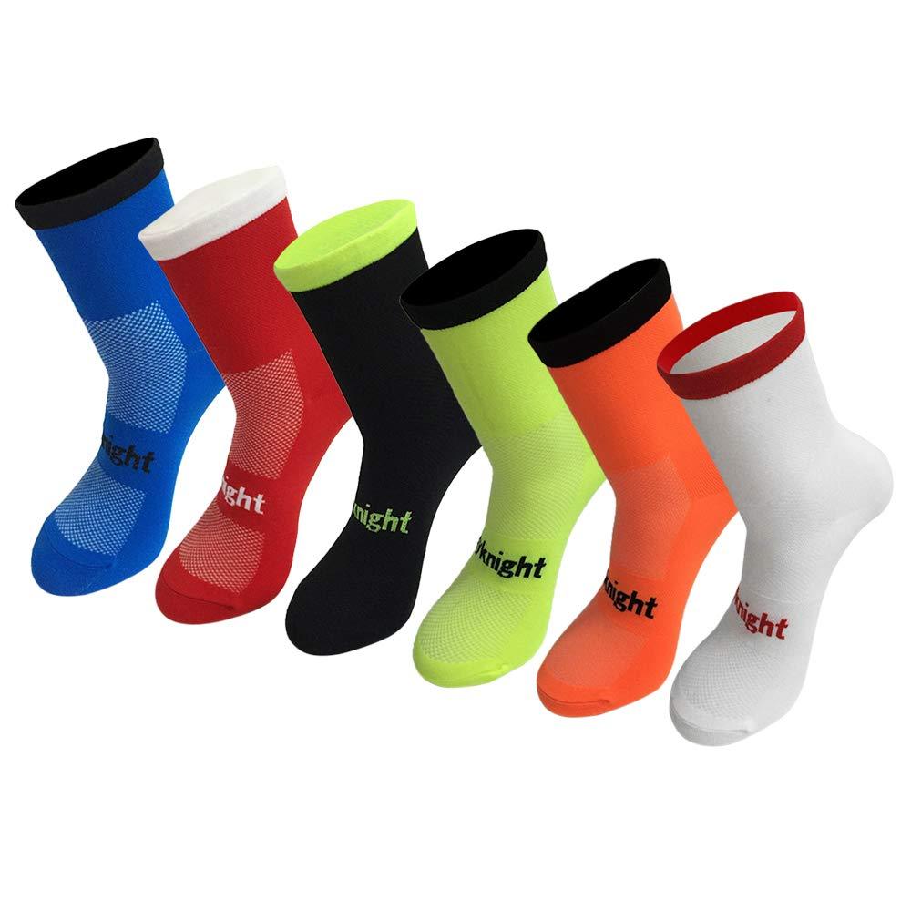 Explopur Calcetines de Ciclismo Calcetines de Bicicleta Que absorben la Humedad Hombres Mujeres Deportes Correr Calcetines de Entrenamiento de Gimnasio Tama/ño 7-12