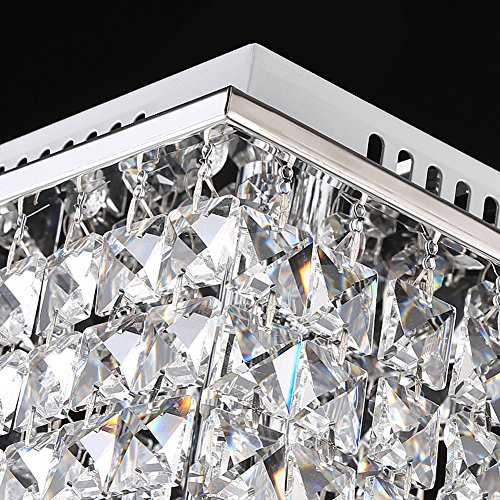 Surpars House Flush Mount 2-Light Crystal Chandelier, Length:15'' Width:7.87'' Height:15.3'',Silver by Surpars House (Image #3)