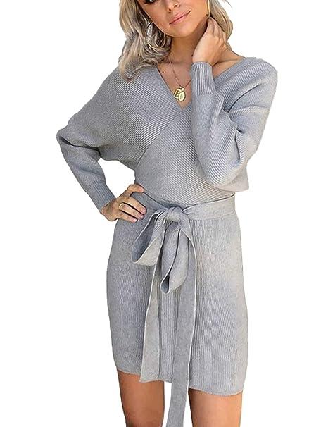 973d4fa7ad0e MYSHOW Donna Abito con Scollo a V a Costine Scollo Vestito Lavorato a  Maglia Vestidos Sexy Elegante  Amazon.it  Abbigliamento