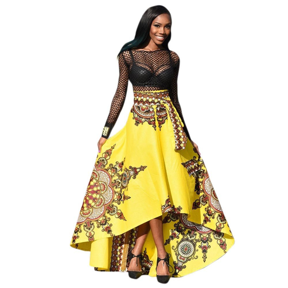 Hengshikeji Maxi Skirt for Teen Girls Summer Sexy Ladies New African Printed Boho Long Dress Beach Evening Party Skirt Yellow