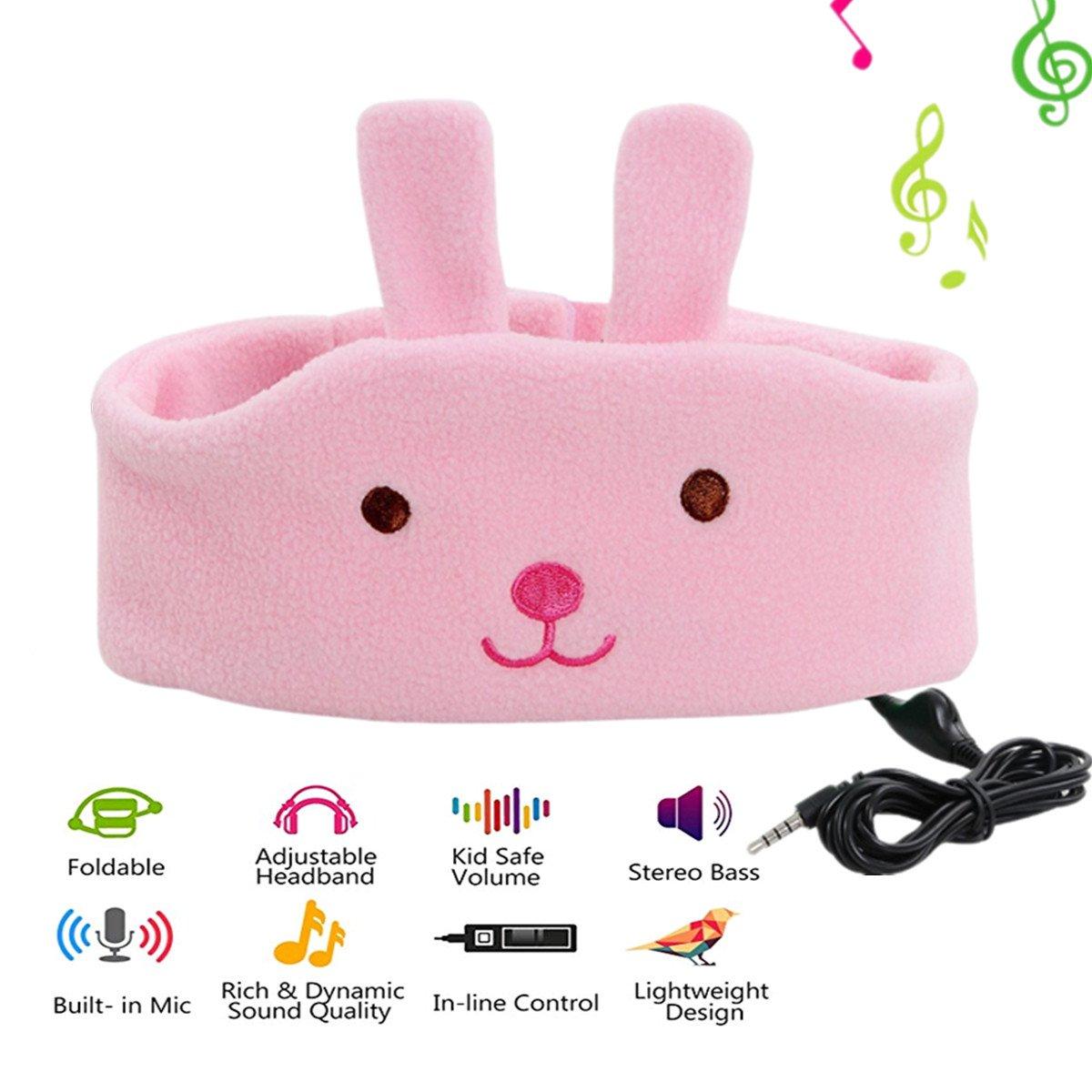 Auriculares ABOGALE Children Headband Music Headband Confortable Volume-Limited Soft Fleece Headband para Niños (Pink-Bu