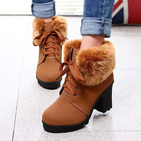 Amazon.com: Tootu Women Lace-Up High Thick Short Shoes Leisure Ankle Boots High-Heel Boots: Clothing