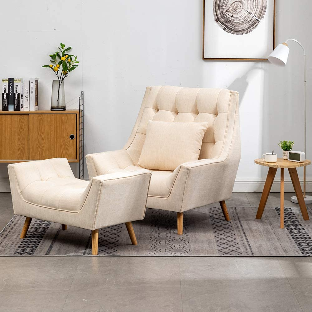 Warmiehomy Modern Linen Fabric Armchair Oversized Fireside Occasional Chair Sofa Lounge with Solid Wood Legs and Footstool for Living Room Bedroom (Cream) Cream