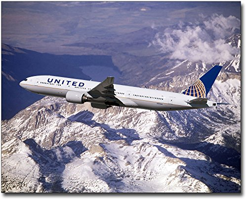 Boeing 777 United Airlines - The McMahan Photo Art Gallery & Archive United Airlines Boeing 777-200 Over Mountains 30x40 Silver Halide Photo Print