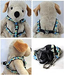 "product image for Diva-Dog 'Coco Blue' Custom 5/8"" Wide Dog Step-in Harness with Plain or Engraved Buckle, Matching Leash Available - Teacup, XS/S"