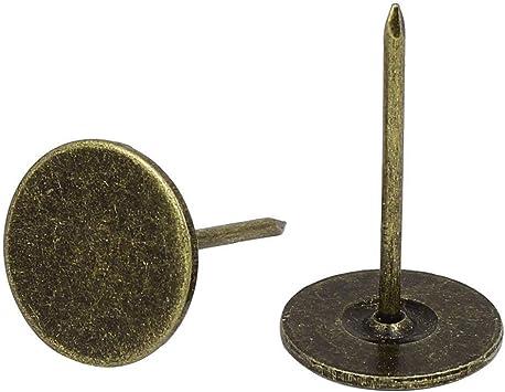 Sydien Flat Head Upholstery Tacks Home Furniture Decor Nail Bronze Tone 19mm Head Dia,31mm Height 100 Pcs