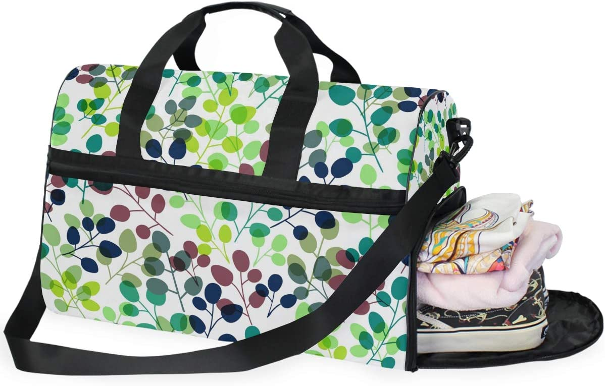 FAJRO Gym Bag Travel Duffel Express Weekender Bag Autumn Round Leaves Seamless Pattern Carry On Luggage with Shoe Pouch
