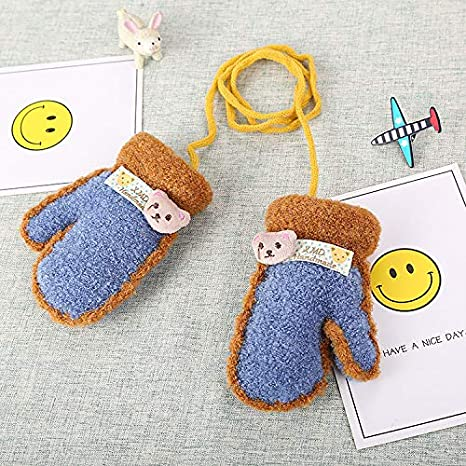 Kids Toddlers Mittens on String Hang Neck Gloves Mittens,Girls Boys Cute Cartoon Full Finger Mitten with String Cashmere Wrist Glove Thermal Magic Stretch Mittens for Xmas Gifts