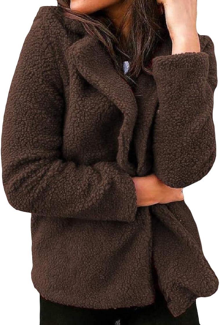 CrazyDay Womens Velvet Slim Solid Lapel Long Sleeve Warm Outwear Coat