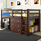 DONCO Kids 760-CP Low Study Loft Bed, Dark Cappuccino/White
