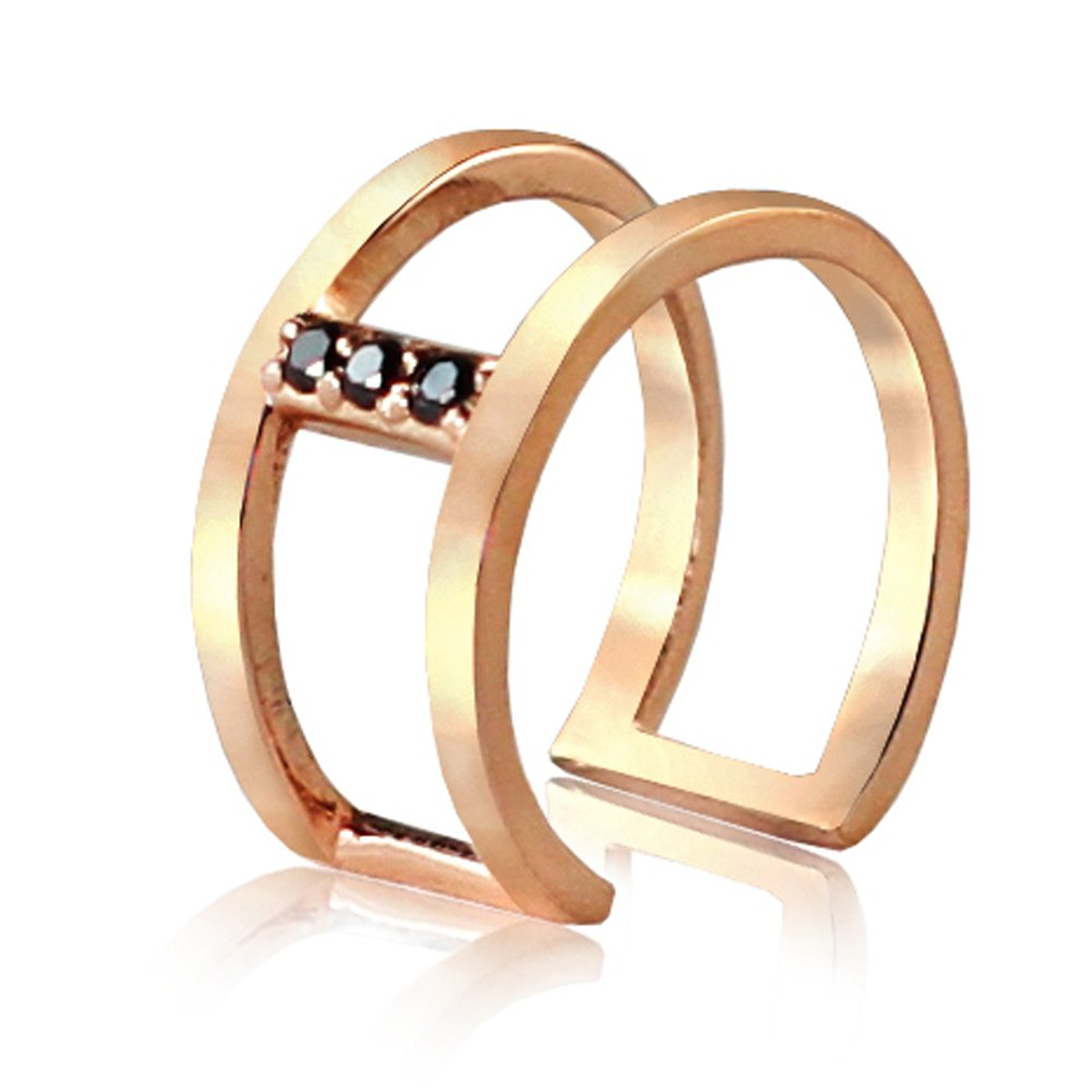 14K Rose Gold Ear Cuff with Black Diamonds