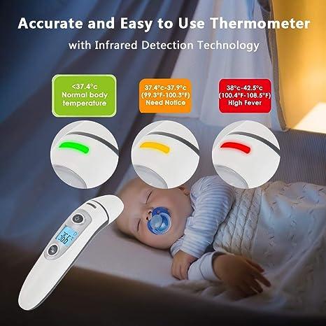 Termómetro Digital Frente y Oído,termómetro Multifunción 4 en 1 de infrarrojos de precisión Hkiytime para bebés, niños y adultos con,advertencia de ...
