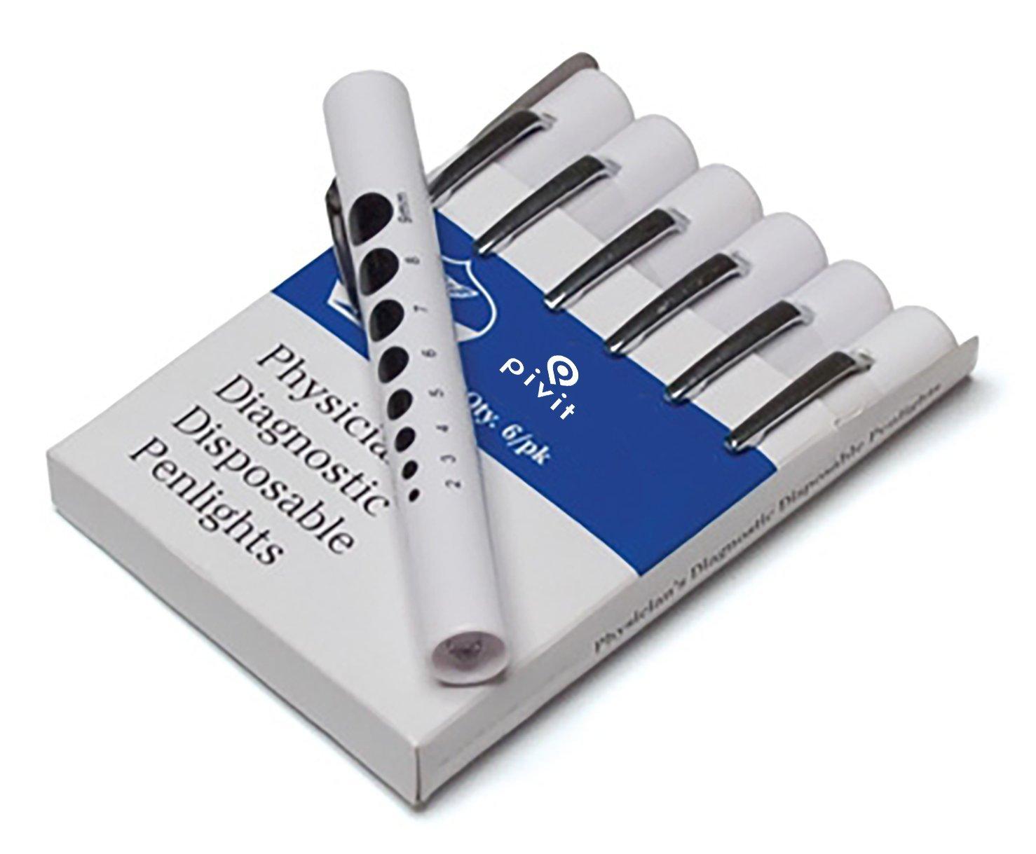 Pivit Disposable Nursing Exam Penlight | 6 Pack | Compact Push Button Flashlight Design With Pocket Clip & Pupil Gauge | Bright White L.E.D Medical Assessment Light Pen | Perfect For Doctors & Nurses