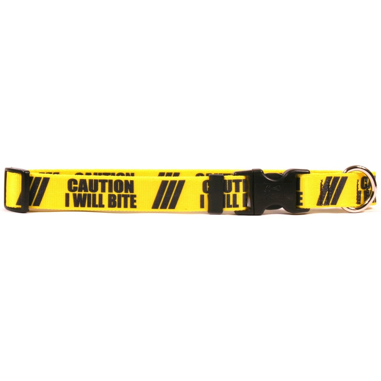 Yellow Dog Design 1'' Caution I Will Bite Dog Collar 3/4'' Wide And Fits Neck 10 To 14'', Small